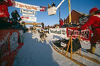 Susan Butcher Crosses Finish Line 1990 Iditarod Nome Alaska WE