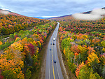 Location:  Lincoln, New Hampshire<br /> <br /> A bird's eye view shows off the full spectrum of autumn's colours.  With many trees turning shades of autumnal orange, bold evergreens - primarily balsam fir and red spruce trees - provide stark contrast.<br /> <br /> The multi-coloured landscape was captured in a series of striking photos across north eastern USA, using a drone.  All five areas pictured - Lakewood in Pennsylvania, Killington in Vermont, Lincoln in New Hampshire, Cannonsville Reservoir and Kaaterskill Falls, both in New York - are a far cry from the major cities the region is perhaps best known for.  SEE OUR COPY FOR DETAILS.<br /> <br /> Please byline: Rahul Phutane/Solent News<br /> <br /> © Rahul Phutane/Solent News & Photo Agency<br /> UK +44 (0) 2380 458800