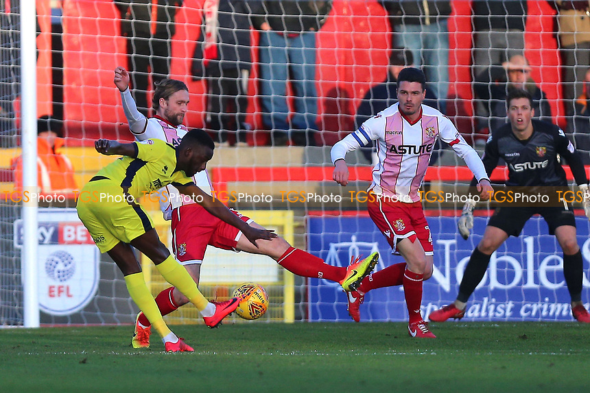 Mohamed Eisa of Cheltenham Town scores the first goal for his team and celebrates during Stevenage vs Cheltenham Town, Sky Bet EFL League 2 Football at the Lamex Stadium on 1st January 2018