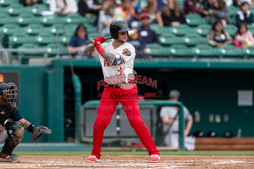 Fresno Grizzlies third baseman Brandon Snyder (10) batting during a game against the Reno Aces at Chukchansi Park on April 8, 2019 in Fresno, California. Fresno defeated Reno 7-6. (Zachary Lucy/Four Seam Images)