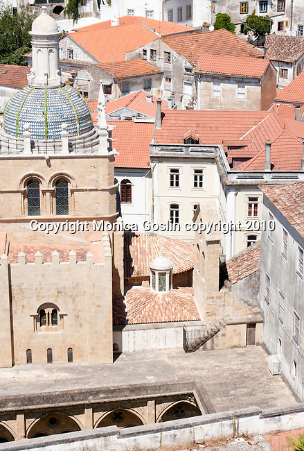A view of the Old Cathedral from the balcony of one of the University of Coimbra buildings in Portugal.