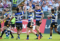 Matt Banahan of Bath Rugby celebrates his second try with team-mates. Aviva Premiership match, between Bath Rugby and London Irish on May 5, 2018 at the Recreation Ground in Bath, England. Photo by: Patrick Khachfe / Onside Images