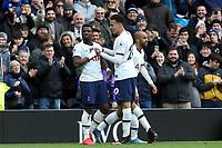 Serge Aurier of Tottenham Hotspur is congratulated after scoring the second goal during Tottenham Hotspur vs Wolverhampton Wanderers, Premier League Football at Tottenham Hotspur Stadium on 1st March 2020