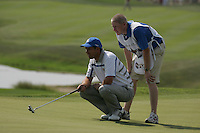 Padraig Harrington lines up his putt on the 18th hole in the opening foursomes at the 37th Ryder Cup at Valhalla Golf Club, Louisville, Kentucky, USA - 19th September 2008 (Photo by Manus O'Reilly/GOLFFILE)