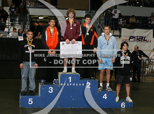 Austin Meys (1st - Shenendehowa); Collin Toney (2nd - Mexico); Angelo Malvestuto (3rd - Niagara Wheatfield); Zeke Stambovsky (4th - Nyack); John Makastchian (5th - Plainedge High); Josue Mendez (6th - Brentwood) pose on the podium for the Division One 171 weight class during the NY State Wrestling Championship finals at Blue Cross Arena on March 9, 2009 in Rochester, New York.  (Copyright Mike Janes Photography)