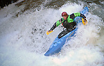 November 5, 2016 - Hendersonville, North Carolina.  A kayaker uses hand paddles in the Scream Machine Rapids prior to the 21st annual Green Race.The Green River Narrows provides one of the most intense and extreme whitewater venues in the world and is home to many of the USA's most talented paddlers.  Green River Narrows, Hendersonville, North Carolina.