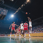 29 MAR 1975:  UCLA forward Marques Johnson (54) during the NCAA Men's National Basketball Final Four semifinal game against Louisville held in San Diego, CA, at the Sports Arena. UCLA defeated Louisville 75-74 in over time to meet Kentucky for the championship. Also pictured Louisville guard/forward Junior Bridgeman (10), forward Ike Whitfield (40), center William Bunton (33) and UCLA forward Dave Meyers (34), center Richard Washington (31). Photo by Rich Clarkson/NCAA Photos..SI CD 2017-41