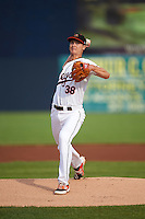 Frederick Keys starting pitcher Matthew Grimes (38) during a game against the Carolina Mudcats on June 4, 2016 at Nymeo Field at Harry Grove Stadium in Frederick, Maryland.  Frederick defeated Carolina 5-4 in eleven innings.  (Mike Janes/Four Seam Images)
