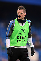 Jamie Vardy of Leicester city warms up before Chelsea vs Leicester City, Premier League Football at Stamford Bridge on 13th January 2018
