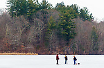 MIDDLEBURY,  CT-122619JS03- Mark Stanley of Southbury, along with his son Tyler Stanley, 11, and friend  Max Jurkowski,12,  spent Thursday afternoon doing some ice fishing on Lake Elise in the John Largay Preserve, part of the Middlebury Land Trust. <br /> Jim Shannon Republican-American