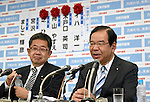 July 10, 2016, Tokyo, Japan - President Kazuo Shii of the Japanese Communist Party comments on the early returns of Sundaus upper house election during an interview with a Japanese TV station at the party headquarters in Tokyo on July 10, 2016. Party Secretary-General Akira Koike is at left. A field 389 candidates, including 42 from the Communist Party, across the country vied for half of the Diet upper chambers 242 seats in the triennial election.Prime Minister Shinzo Abes ruling coalition won a landslide victory despite doubts about his economic policies and his goal of revising the pacifist constitution.?(Photo by Natsuki Sakai/AFLO) AYF -mis-