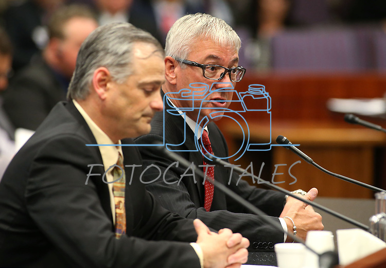 Nevada Sen. James Settelmeyer, R-Minden, left, and lobbyist Rusty McAllister testify in committee at the Legislative Building in Carson City, Nev., on Wednesday, May 6, 2015.<br /> Photo by Cathleen Allison