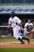 GCL Rays first baseman Devin Davis (32) at bat during the second game of a doubleheader against the GCL Red Sox on August 4, 2015 at Charlotte Sports Park in Port Charlotte, Florida.  GCL Red Sox defeated the GCL Rays 2-1.  (Mike Janes/Four Seam Images)