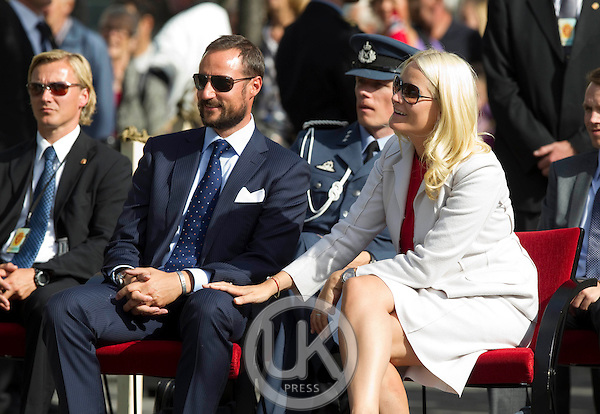 Crown Prince Haakon and Crown Princess Mette-Marit of Norway visit  Arendal  during a  three day visit, to the county of Aust-Agder in Southern Norway