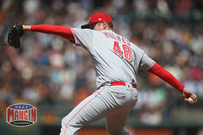 SAN FRANCISCO, CA - MAY 16:  Jared Hughes #48 of the Cincinnati Reds pitches against the San Francisco Giants during the game at AT&T Park on Wednesday, May 16, 2018 in San Francisco, California. (Photo by Brad Mangin)