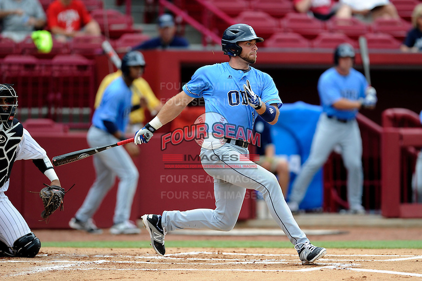 First baseman Josiah Burney (11) of the Old Dominion Monarchs in an NCAA Division I Baseball Regional Tournament game against the Maryland Terrapins on Friday, May 30, 2014, at Carolina Stadium in Columbia, South Carolina. Maryland won, 4-3. (Tom Priddy/Four Seam Images)