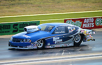 Sept. 22, 2012; Ennis, TX, USA: NHRA pro stock driver Chris McGaha during qualifying for the Fall Nationals at the Texas Motorplex. Mandatory Credit: Mark J. Rebilas-