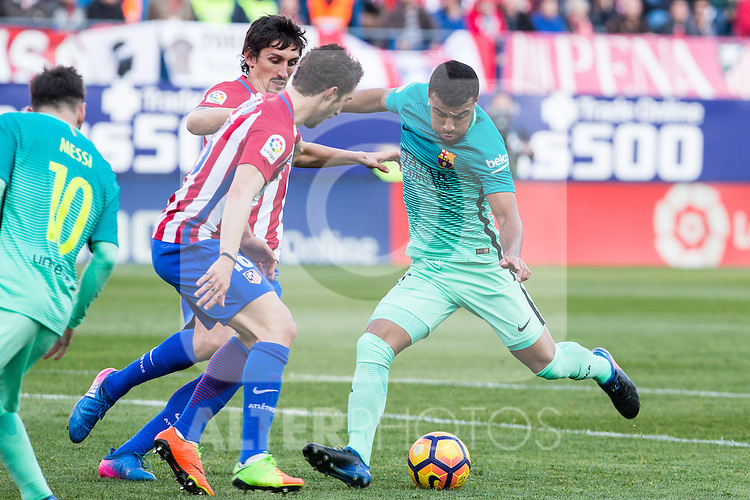 Rafinha Alcantara of Futbol Club Barcelona in action  during the match of Spanish La Liga between Atletico de Madrid and Futbol Club Barcelona at Vicente Calderon Stadium in Madrid, Spain. February 26, 2017. (ALTERPHOTOS)