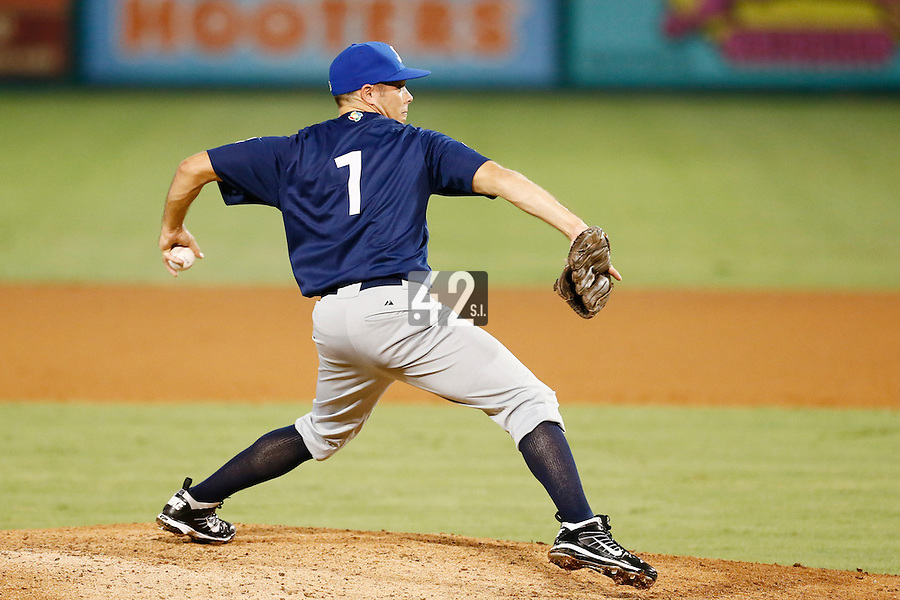 20 September 2012: Thomas Langloys pitches against Spain during Spain 8-0 win over France, at the 2012 World Baseball Classic Qualifier round, in Jupiter, Florida, USA.