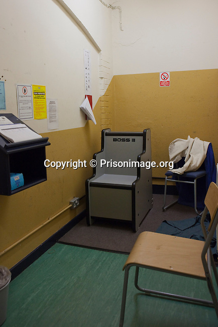 An interview room with a Boss III chair, at HMP Kingston. Portsmouth, United Kingdom. Kingston prison is a category C prison holding indeterminate sentenced prisoners.