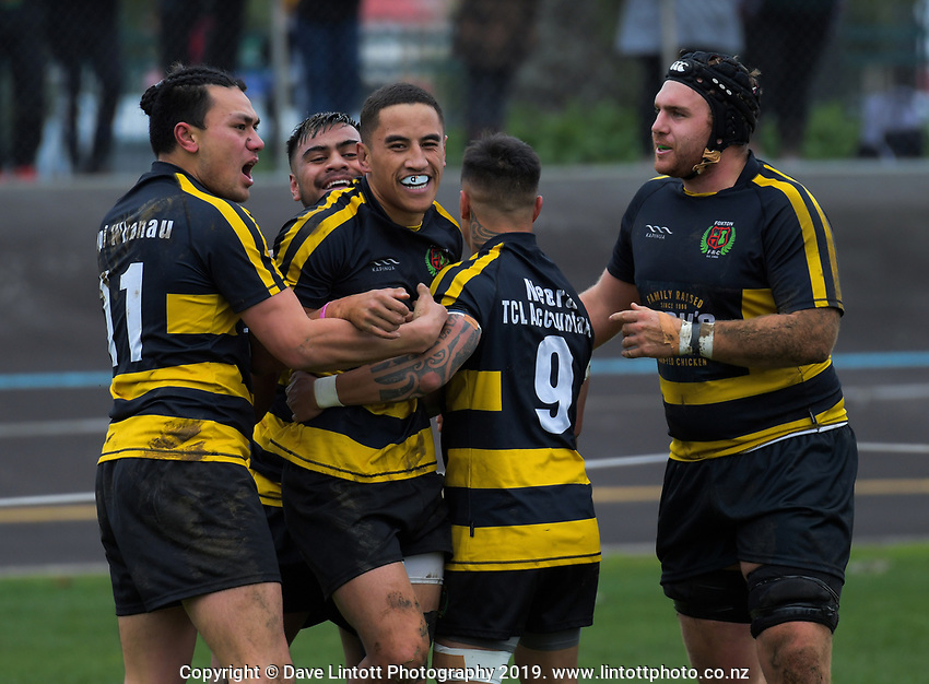 Foxton's Te Ao Marama Hemi celebrates his first try during the 2019 Horowhenua-Kapiti premier club rugby Ramsbottom Cup final between Foxton and Waikanae at Levin Domain in Levin, New Zealand on Saturday, 20 July 2019. Photo: Dave Lintott / lintottphoto.co.nz