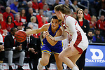 SIOUX FALLS, SD - MARCH 10: Lindsey Theuninck #3 of the South Dakota State Jackrabbits drives to the basket against Chloe Lamb #22 of the South Dakota Coyotes during the women's championship game at the 2020 Summit League Basketball Tournament in Sioux Falls, SD. (Photo by Richard Carlson/Inertia)