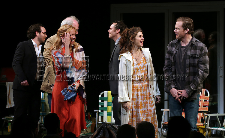 Director Sam Gold, Tracy Letts, Toni Collette, Playwright Will Eno, Marisa Tomei and Michael C. Hall during the Broadway Opening Night Performance Curtain Call for 'The Realistic Joneses'  at the Lyceum Theatre on April 6, 2014 in New York City.