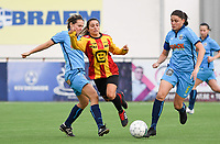 20191005  -  Diksmuide , BELGIUM : FWDM's Sarah Verschaeve , KV Mechelen's Pure Eke and FWDM's Sofie Huyghebaert  pictured during a footballgame between the womensoccer teams from Famkes Westhoek Diksmuide Merkem and KV Mechelen Ladies A , on the 5th matchday in the first division , 1e nationale , in Diksmuide - Belgium - saturday 5th october 2019 . PHOTO DAVID CATRY | Sportpix.be