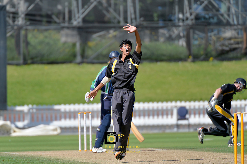 Action from the CSW Premier Cricket  - T20 Hunt Trophy 3rd vs 4th playoff Wellington College v Paraparaumu College at Basin Reserve, Wellington, New Zealand on Friday 14 March 2014. <br /> Photo by Masanori Udagawa. <br /> www.photowellington.photoshelter.com.