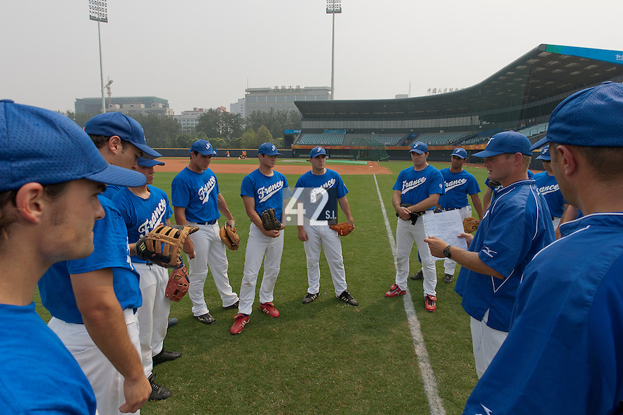 17 August 2007: Team France manager Jeff Zeilstra is seen talking to his players during the Good Luck Beijing International baseball tournament (olympic test event) at the Wukesong Baseball Field in Beijing, China.