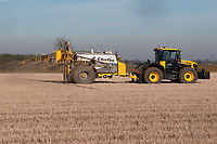 Omex contractor applying liquid nitrogen to over wintered stubble before ploughing for sugar beet <br /> &copy;Tim Scrivener Photographer 07850 303986<br />      ....Covering Agriculture In The UK....