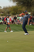 January 31st 2019, Scotsdale, Arizona, USA; Jon Rahm reacts to missing a putt on the 9th green during the first round of the Waste Management Phoenix Open