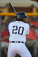 Lakeland Flying Tigers left fielder Christin Stewart (20) at bat during a game against the Tampa Yankees on April 7, 2016 at Henley Field in Lakeland, Florida.  Tampa defeated Lakeland 9-2.  (Mike Janes/Four Seam Images)