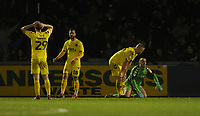 Fleetwood Town players look dejected following Bristol Rovers' winning goal<br /> <br /> Photographer Kevin Barnes/CameraSport<br /> <br /> The EFL Sky Bet League One - Bristol Rovers v Fleetwood Town - Saturday 22nd December 2018 - Memorial Stadium - Bristol<br /> <br /> World Copyright &copy; 2018 CameraSport. All rights reserved. 43 Linden Ave. Countesthorpe. Leicester. England. LE8 5PG - Tel: +44 (0) 116 277 4147 - admin@camerasport.com - www.camerasport.com