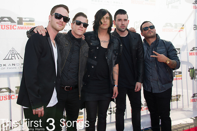 Sleeping with Sirens attends the 2014 AP Music Awards at the Rock And Roll Hall Of Fame and Museum at North Coast Harbor in Cleveland, Ohio.