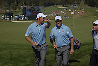 The 37th Ryder cup from Valhalla Golf Club in Louisville, Kentucky..The European team finishing their practice on the 9th green during day two of practice pictured  Padraig Harrington and Lee Westwood..Photo: Eoin Clarke/www.golffile.ie.