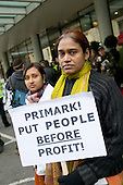 Shahida Sarkar, President of the National Garment Workers Federation of Bangladesh, and co-worker Shuma Sarkar picket Primark AGM being held at the TUC's Congress House, London.