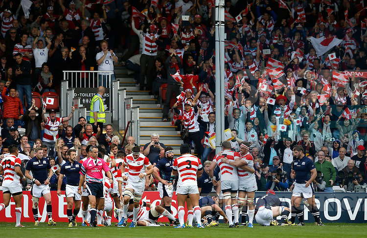 Japan players celebrate scoring a try - Rugby World Cup 2015 - Pool B - Scotland vs Japan - Kingsholm Stadium - Gloucester - England - 23rd September 2015 - Picture Simon Bellis/Sportimage