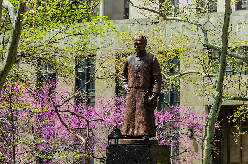 Sun Yat-Sen statue, Columbus Park, Chinatown,  New York, New York USA.