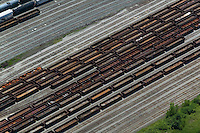 aerial view above Cleveland Railroad Switching Yard Ohio USA