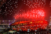 Fireworks take off from Beijing 'Bird's Nest' National Stadium at the start of the Olympics Opening Ceremony, at 20:08 local time, in Beijing, China, on August 8, 2008. Photo by Lucas Schifres/Pictobank