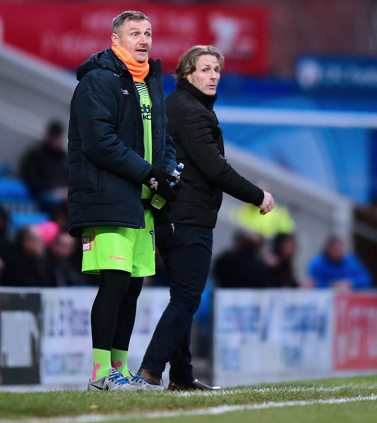 Wycombe Wanderers first team coach Barry Richardson, left, and Wycombe Wanderers manager Gareth Ainsworth shouts instructions to their team from the dug-out<br /> <br /> Photographer Chris Vaughan/CameraSport<br /> <br /> The Emirates FA Cup Second Round - Chesterfield v Wycombe Wanderers - Saturday 3rd December 2016 - Proact Stadium - Chesterfield<br />  <br /> World Copyright &copy; 2016 CameraSport. All rights reserved. 43 Linden Ave. Countesthorpe. Leicester. England. LE8 5PG - Tel: +44 (0) 116 277 4147 - admin@camerasport.com - www.camerasport.com