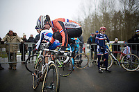 Marianne Vos (NLD/Rabo-Liv) jumping herself warm before  the start of the race<br /> <br /> Elite Women's Race<br /> <br /> 2015 UCI World Championships Cyclocross <br /> Tabor, Czech Republic