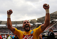 Napoli's Marek Hamsik  celebrates at the  end oh  Italian Serie A soccer match between SSC Napoli and AC Fiorentina  at San Paolo stadium in Naples,October 18, 2015