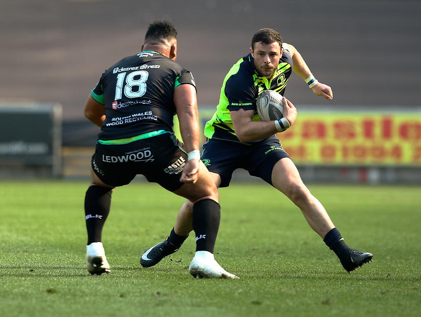 Leinster's Robbie Henshaw under pressure from Ospreys' Ma'afu Fia<br /> <br /> Photographer Simon King/CameraSport<br /> <br /> Guinness PRO12 Round 19 - Ospreys v Leinster Rugby - Saturday 8th April 2017 - Liberty Stadium - Swansea<br /> <br /> World Copyright &copy; 2017 CameraSport. All rights reserved. 43 Linden Ave. Countesthorpe. Leicester. England. LE8 5PG - Tel: +44 (0) 116 277 4147 - admin@camerasport.com - www.camerasport.com