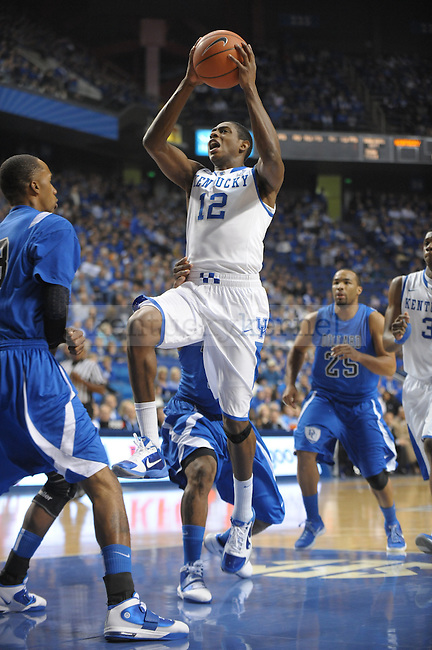 Freshman Brandon Knight lays it up during the UK mens basketball Dillard exhibition game. Photo by Mike Weaver | Staff
