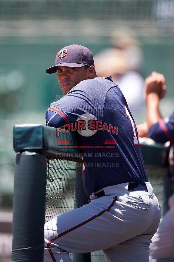 GCL Twins hitting coach Steve Singleton (11) in the dugout during a game against the GCL Orioles on August 11, 2016 at the Ed Smith Stadium in Sarasota, Florida.  GCL Twins defeated GCL Orioles 4-3.  (Mike Janes/Four Seam Images)