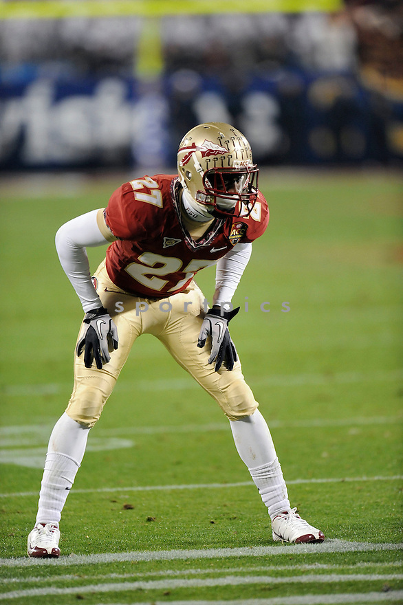 XAVIER RHODES, of the Florida State Seminoles in action during the Seminoles game against the Virginia Tech Hokies on December 04, 2010 at Bank of America Stadiumin Charlotte, North Carolina..Virginia Tech Hokies  beats Florida State Seminoles 44-33 to win the ACC Championship