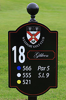 New sign at the 18th tee during the Preview of the AIG Cups & Shields Connacht Finals 2019 in Wesport Golf Club, Westport, Co. Mayo on Thursday 8th August 2019.<br /> <br /> Picture:  Thos Caffrey / www.golffile.ie<br /> <br /> All photos usage must carry mandatory copyright credit (© Golffile | Thos Caffrey)