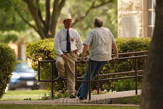Eldorado - at the Schleicher County Courthouse Wednesday, June 25, 2008, where a grand jury met to hear evidence of possible crimes involving FLDS church members from the YFZ ranch. Sheriff David Doran, Sam Brower